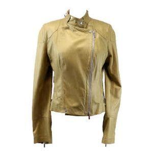 Karen Millen gold Metallic leather Moto jacket si